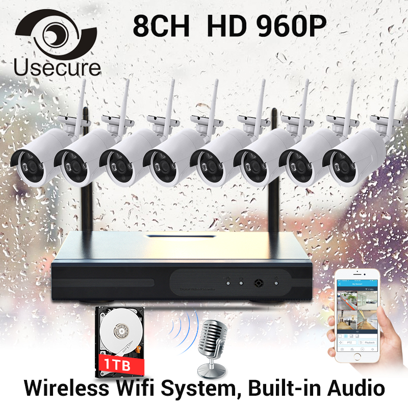 USECURECH CCTV Plug and Play 8CH Wireless NVR Kit P2P 960P HD Outdoor IR Night Vision Security IP Camera WIFI CCTV System anran plug and play 8ch wireless nvr surveillance kit p2p 720p hd outdoor ir night vision security ip camera wifi cctv system