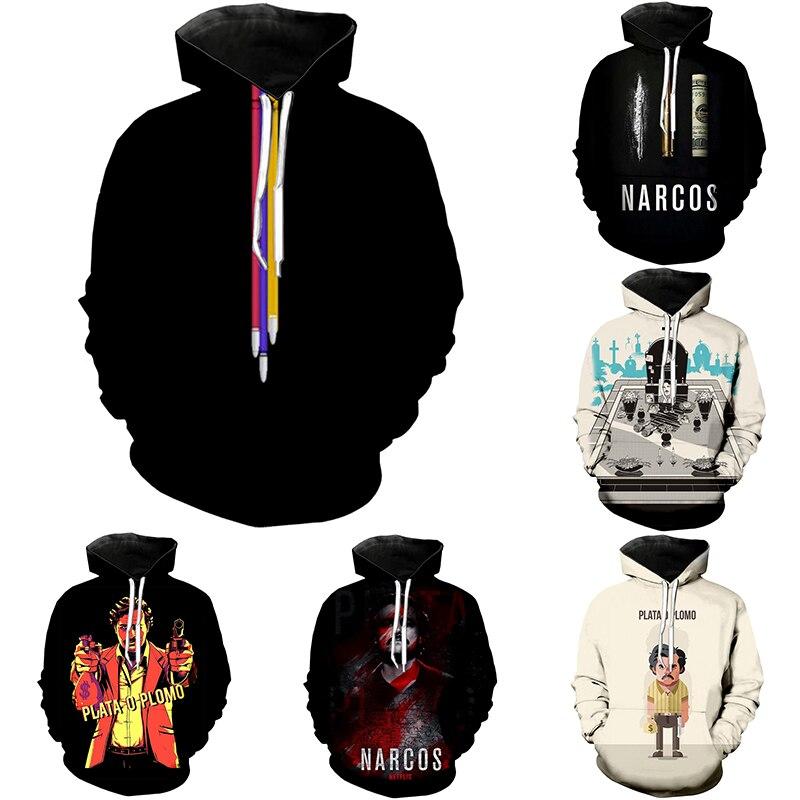 PLstar Cosmos Narcos Pablo Escobar Narcos Bullet Black Hoodies Sweatshirt  Mafia Hip Hop Men Tees Shirt  Harajuku Streetwear-5
