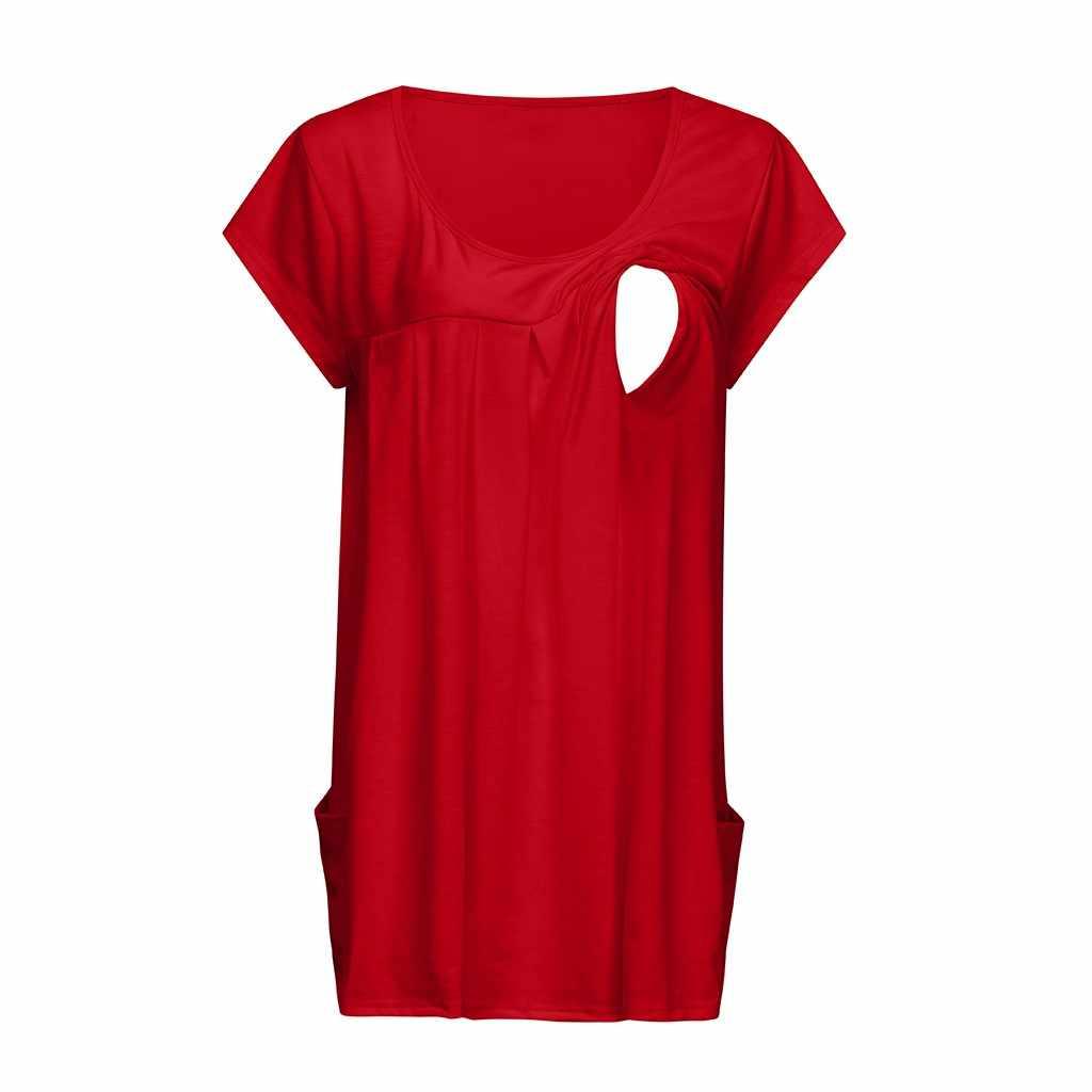 Femmes hauts de maternité à manches courtes comfortable couches haut de maternité chemises pour l'allaitement Blouse Allaitement t-shirt Femme Enceinte
