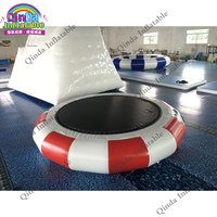 Aqua park jumping games inflatable water pad ,4m inflatable floating trampoline with free air pump