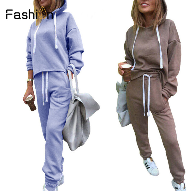 Autumn Tracksuit Long Sleeve Thicken Hooded Sweatshirts Casual Set Women Clothing 2 Piece Set Tops+Pants Sporting Suit Female