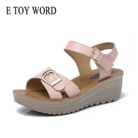 E TOY WORD Summer Sandals Female Slope With 2018 New Flat Pregnant Women Soft Bottom Mother