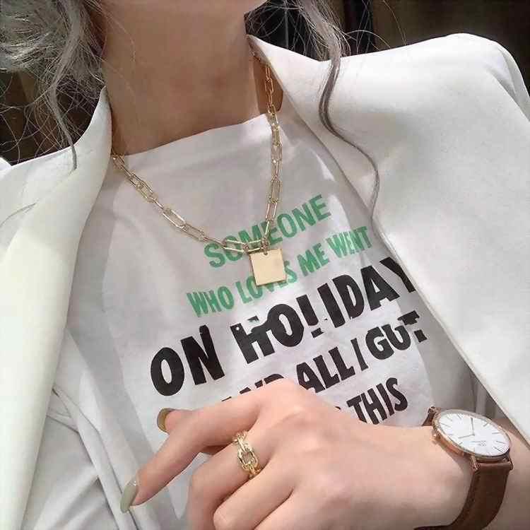 Oświadczenie gruby łańcuch naszyjnik 2019 moda prosty kwadratowy wisiorek naszyjniki Hip hop kobiety mężczyźni biżuteria