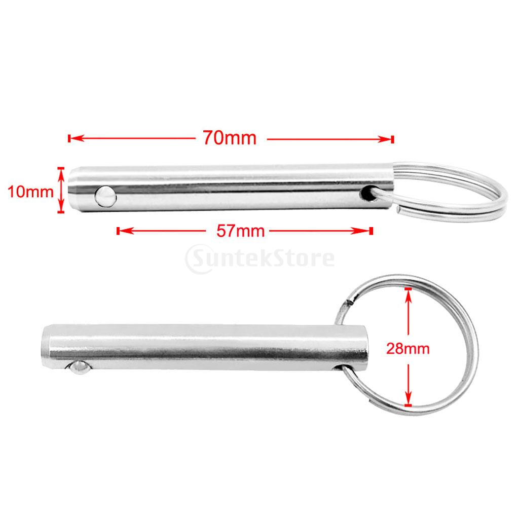 2pcs 10mm x 70mm Marine Boat Bimini Top Quick Release Pin Stainless Steel