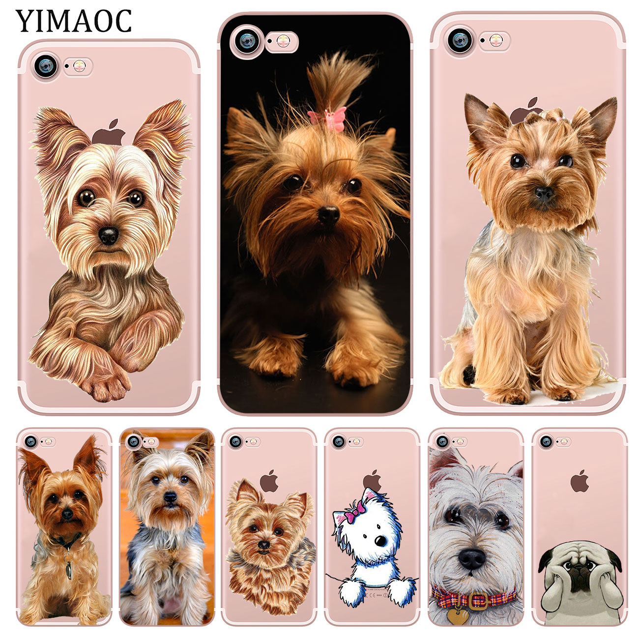 YIMAOC yorkshire terrier dog puppy Soft Silicone Phone Shell Case for iPhone XR X XS 11 Pro Max 5 5S SE 6 6S 7 8 Plus 10 Cover