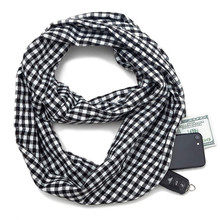 2019 winter Women Infinity Scarf with Zipper Pocket ladies Warm plaid Ring scarf foulard femme elegant shawls for ladies