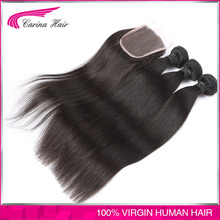 100% Human hair unprocessed brazilian virgin hair 3pcs with closure human hair straight shed tangle free human hair extension