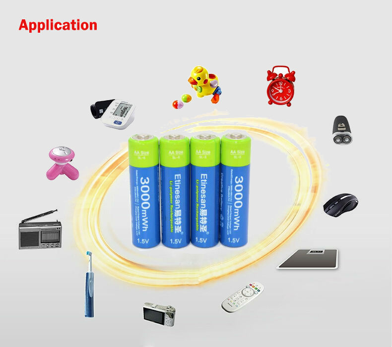 Etinesan Stable Voltage 3000mWh AA Batteries 1.5V Rechargeable Battery Polymer Lithium Li-ion Battery For Camera Ect