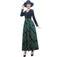 570aeef6b1b8 2018 Office Lady Autumn Winter Trench Dress Plaid Long Sleeves Party Dress  Women Ball Gown Long