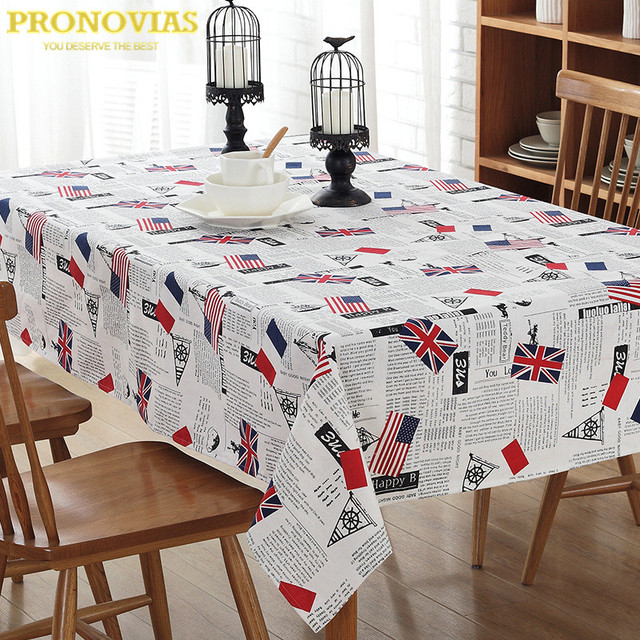 Pronovias Union Jack Waterproof Linen Table Cloth Lattice Decorated
