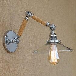 Vintage regulowany wahacza drewna szkła/biały kinkiet e27 led nowoczesne światło dekoracyjne dla pracownia sypialnia salon pokój bar