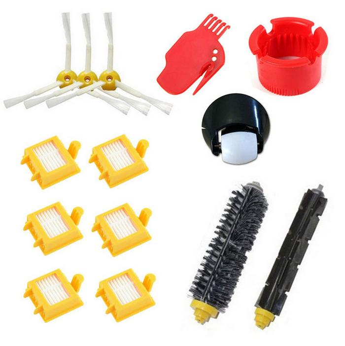 14pcs/lot Hepa Filter +side brush+steering front wheel clean tool Kit for iRobot Roomba 700 Series 760 770 780 790 Accessories