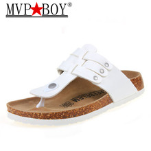 MVP BOY New 2018 shoes woman Cork slippers fashion Cow Muscle Casual Slippers summer style flip flop Big Size 35-43