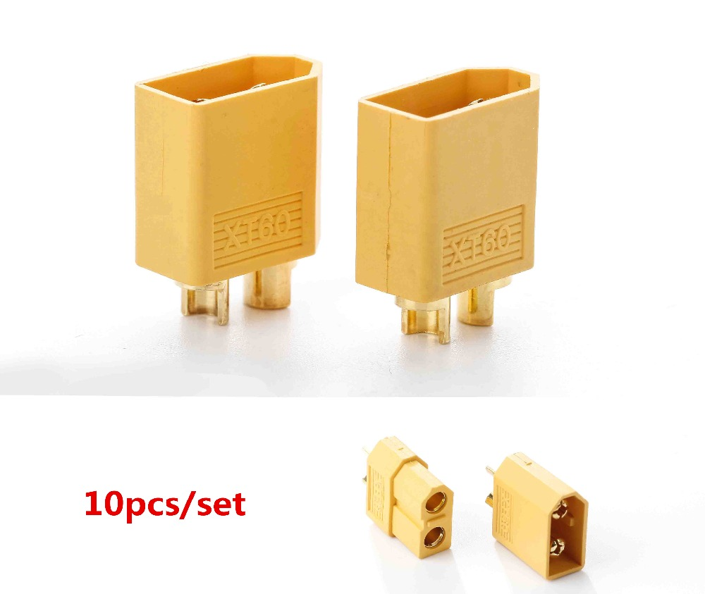 10pcs XT60 XT-60 Male Female Bullet Connectors Plugs For RC Lipo Battery (5 pair) Wholesale injora 5 pairs xt60 xt 60 male female bullet connectors plugs for rc car drone lipo battery
