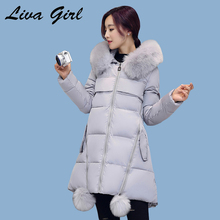 Liva girl зимняя куртка женщин 2017 новый тонкий большой размер с капюшоном сгущает большой меховой воротник супер теплый свободные хлопка одежда ws06