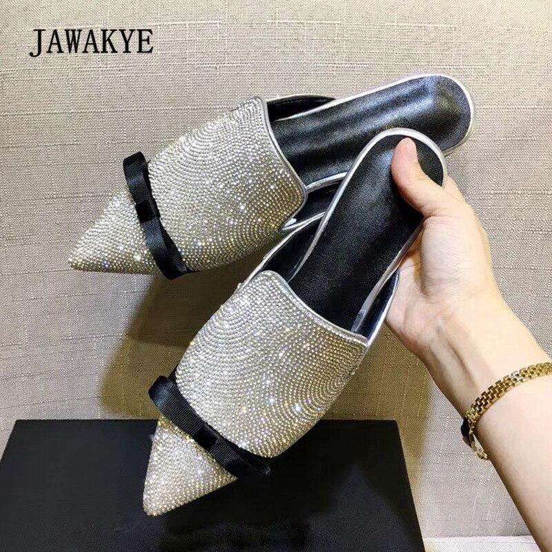 f691156e0ec2b 2018 Bling Bling Rhinestone Diamond Slippers Women Pointed Toe Bowtie Flat  Gladiator Sandals Woman Fashion Wedding Shoes