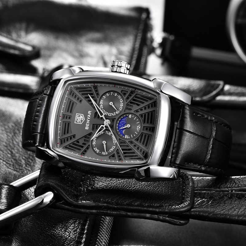 원래 새로운 남성 시계 BENYAR 최고 브랜드 럭셔리 크로노 그래프 남성 시계 가죽 럭셔리 방수 스포츠 시계 남성 남성 시계