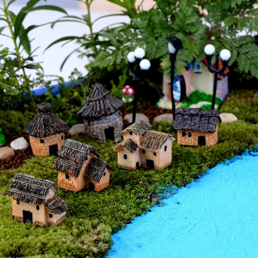 1PC Cute Resin Crafts House Fairy Garden Miniatures Gnome Micro Landscape Decor Bonsai For Home Decor Random Color