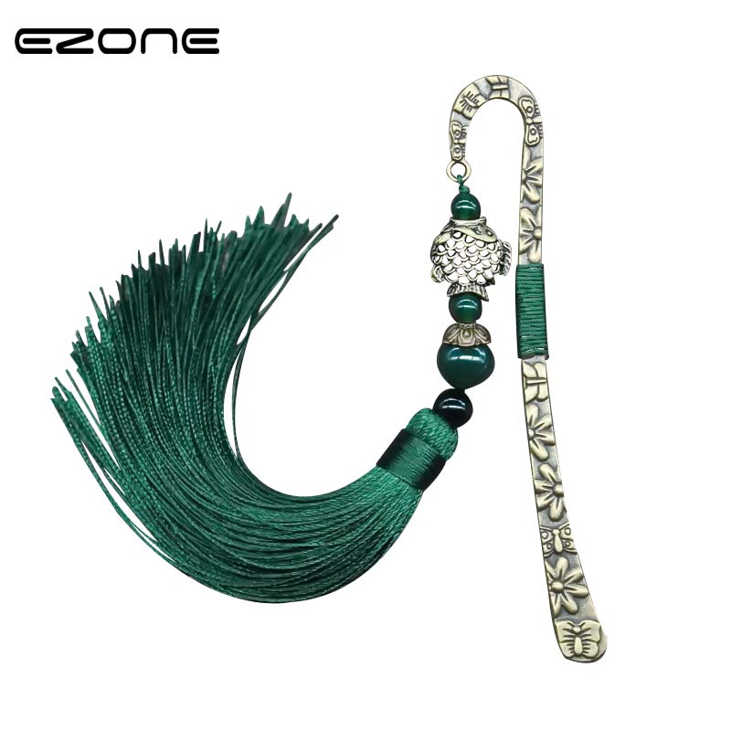 EZONE Retro Metal Fish Pendant Bookmark With Carnelian Tassel Reading Marker Green/Red Chinese Style Hairpin Bookmark Stationery
