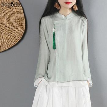 Nagodo chińska odzież damska koszula z długim rękawem z szyfonu zmodyfikowana Hanfu najlepsze chińskie tunika tradycyjna-chińska-odzież tanie i dobre opinie Topy Rayon WOMEN NG051305 Szyfonowa