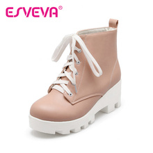 ESVEVA  Round Toe Motorcycle Boots Lace-Up Square High Heels Short Plush Solid Platform Ankle Boots Winter Women Shoes Pink