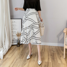 309f8fb27 Spring and summer new Korean version of the high waist striped pleated long  chiffon skirt female