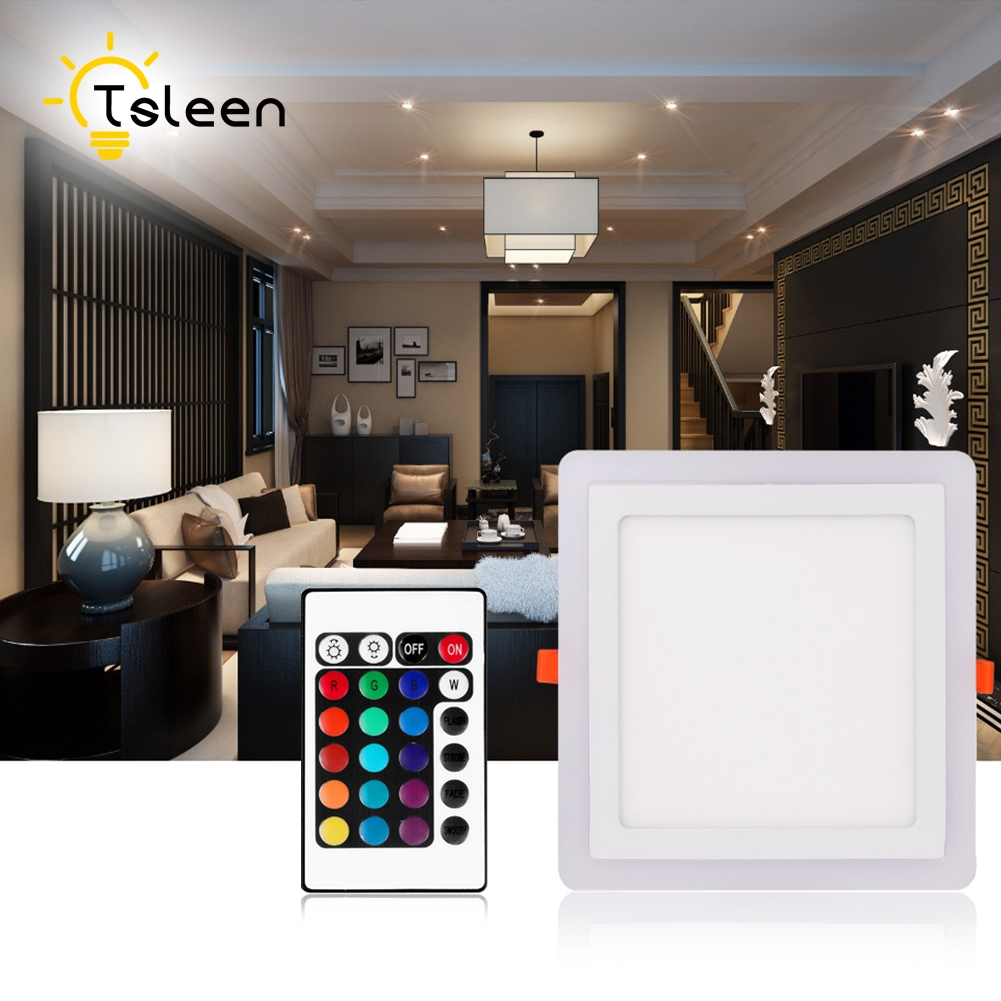 Tsleen LED Панель свет тонкий встраиваемые потолочный светильник круглый квадратный белый + отель красочные rgb галерея салон Освещение 3 Вт 6 Вт 12...