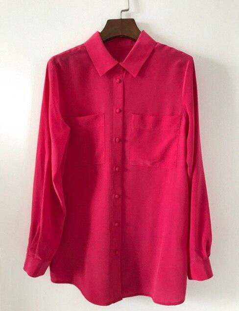 100% seide Frauen Solid Doppel Taschen Elegante Klassische Bluse-in Blusen & Hemden aus Damenbekleidung bei  Gruppe 2