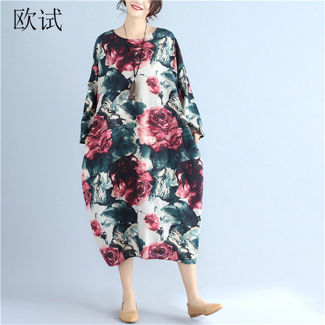 c90e62f1af Womens Linen Floral Print Dress Spring Summer Casual Plus Size Loose Long Dresses  Women Long Sleeve Dress New Arrival 2018