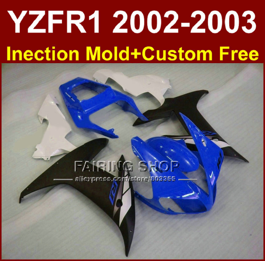 Blue black body parts for <font><b>YAMAHA</b></font> YZF <font><b>R1</b></font> 2002 <font><b>2003</b></font> <font><b>fairings</b></font> yzf <font><b>r1</b></font> 02 03 YZF1000 02 03 +custom molde <font><b>fairing</b></font> kit image