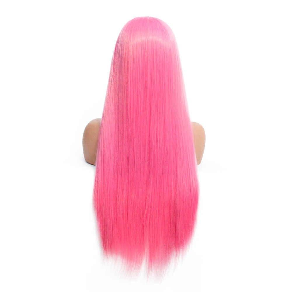 V'NICE розовый парик на кружеве 3*13 Швейцарский Кружевной натуральный бесклеевой термостойкий прямой синтетический парик для черных женщин