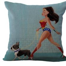 New Pet Dog Superman 45x45cm Linen Cushion For Sofa Decorative Throw Pillow Adorable Waist Cotton Pillow Sofa Decor