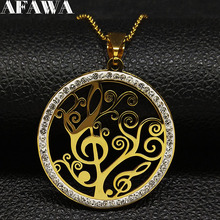 2019 Note Tree of Life Crystal Stainless Steel Chain Necklaces for Women Gold Color Necklaces & Pendants Jewelry bijoux N18810 цена в Москве и Питере