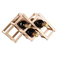 Classical Wooden Red Wine Rack Beer Foldable 3/6/10 Bottle Holder Kitchen Bar Display Shelf Organizer Home Table Decoration(China)