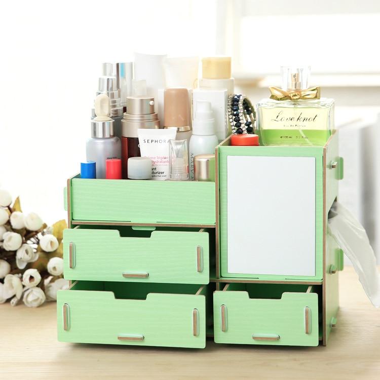 new diy wood makeup organizer with mirror tissue box 26 16. Black Bedroom Furniture Sets. Home Design Ideas