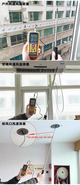 Handheld Hot Wire Anemometer Air Velocity Air Volume Temperature ...