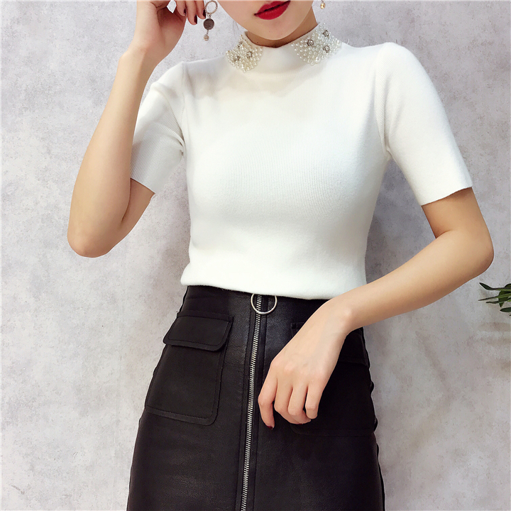 ALPHALMODA 18 Summer Ladies Short-sleeved Pearl Collar Pullovers Casual Slim Knit Sweater Women Studded Fashion Jumpers 19