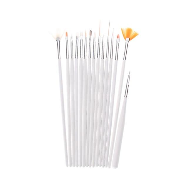 15 шт. Профессиональный Nail Art Brush Set накладные ногти Живопись Рисунок Pen кисти для геля для ногтей УФ-Полировка Draw инструмент жемчужно-белый