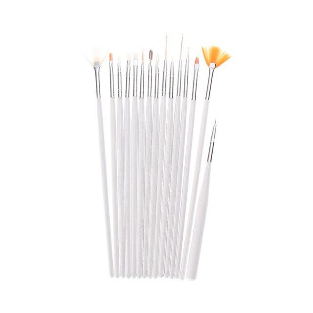 15 шт. Профессиональный Дизайн ногтей Кисточки комплект поддельные Гвозди Живопись Рисунок Pen Расчёски для волос для УФ Гели для ногтей полировки рисовать инструмент Pearl White