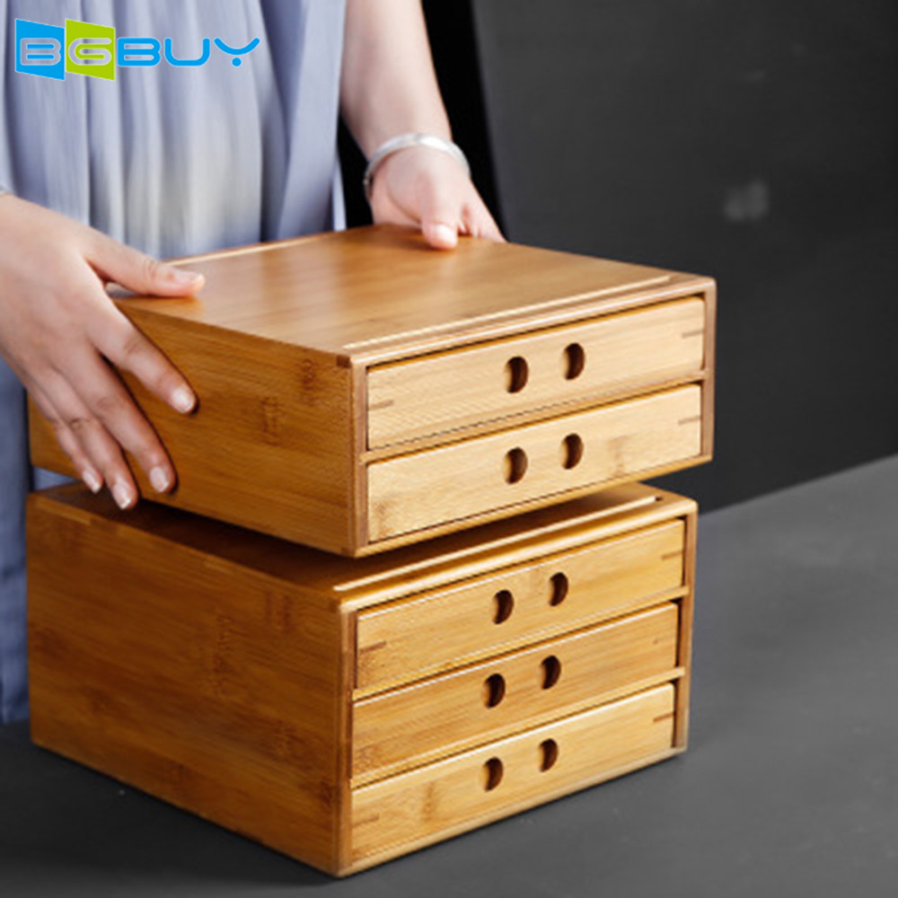 Bamboo Tea Storage Box Natural Wood Tea Chest Organizer with Single/Double/Three Layer Drawer | Great Gift Idea for Family