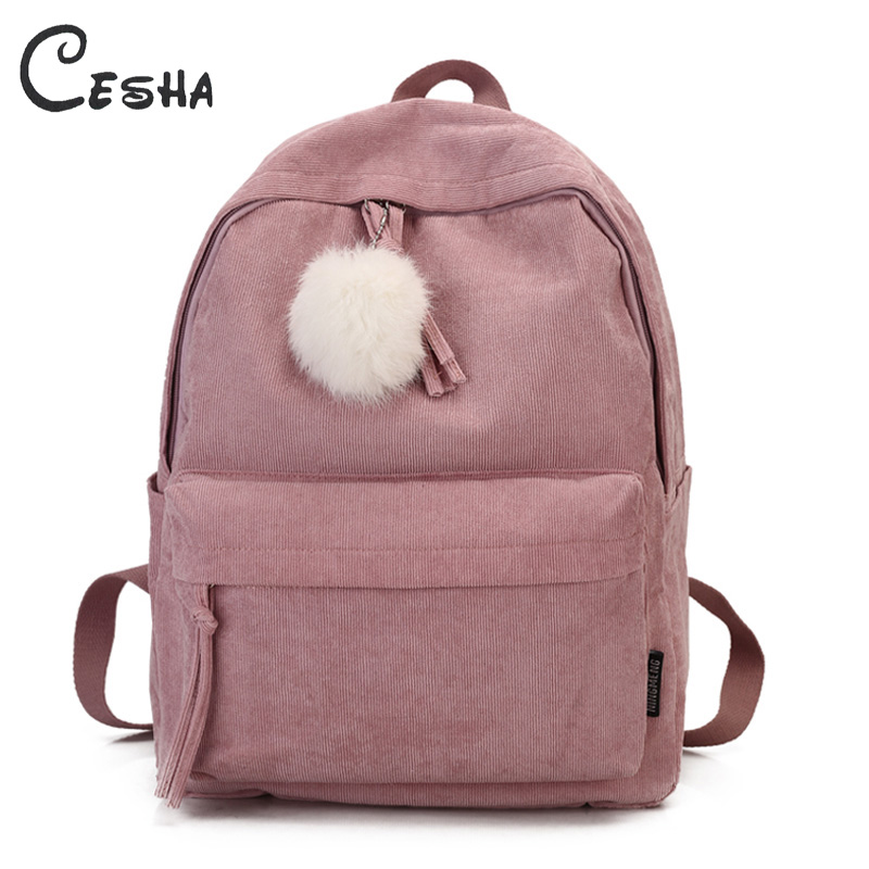 Fashion Fuzzy Ball Design Girl School Backpack High Quality Corduroy School Bag Pretty Style Students Durable Book Bag Satchel(China)