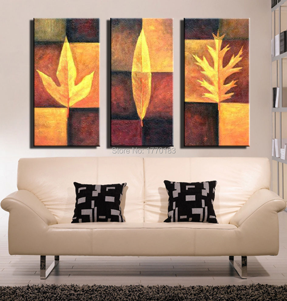 modern abstract oil painting  pieces hand painted wall decor  - modern abstract oil painting  pieces hand painted wall decor canvas artyellow autumn leaf samples picture wall decorationsin painting calligraphy from