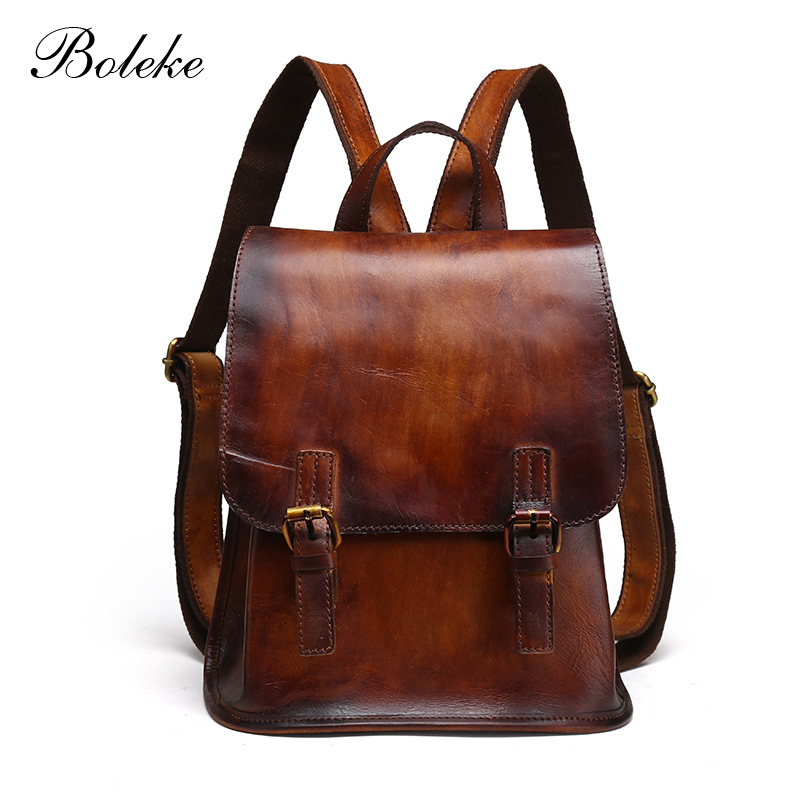 Men Genuine Leather Backpack Vintage Retro Hand Bag Male Brush Color Leather Fashion Backpack Unisex School Bag for Women 9914 zaino vintage cuoio
