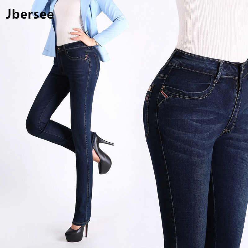 4e06b33064f Jbersee Для женщин джинсы Высокая талия плюс Размеры осень-зима джинсовые  штаны стрейч джинсы женские