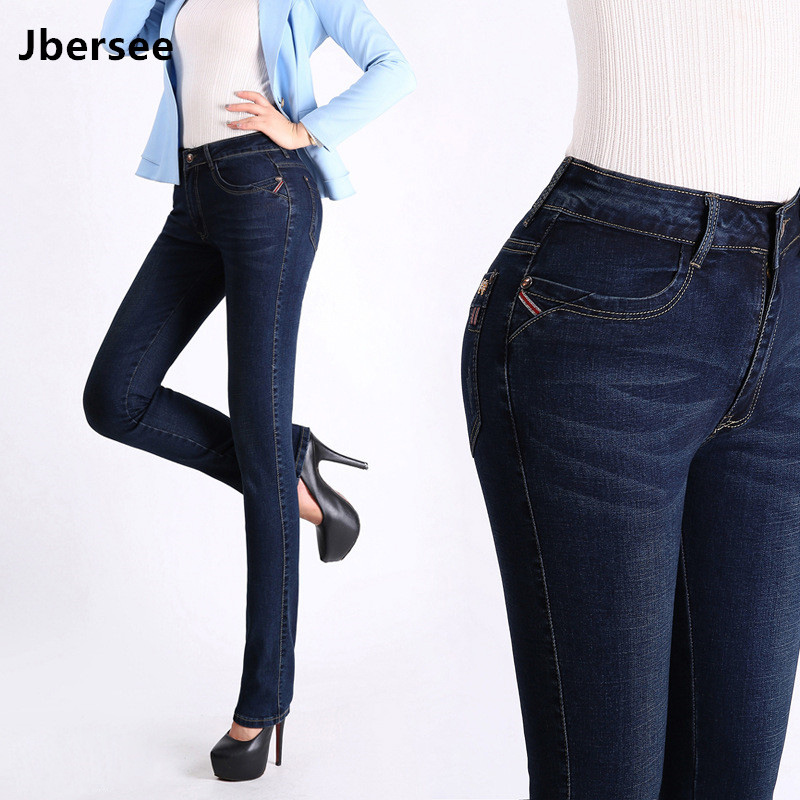 Jbersee Women   Jeans   High Waist Plus Size Autumn Winter Denim Pants Stretch   Jeans   Woman Brand   Jeans   Women's Trousers YZ2030