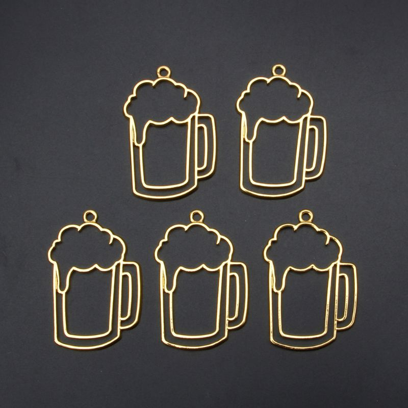 5Pcs Beer Tumbler Resin Blank Frame Pendant Open Bezel Setting Jewelry Making
