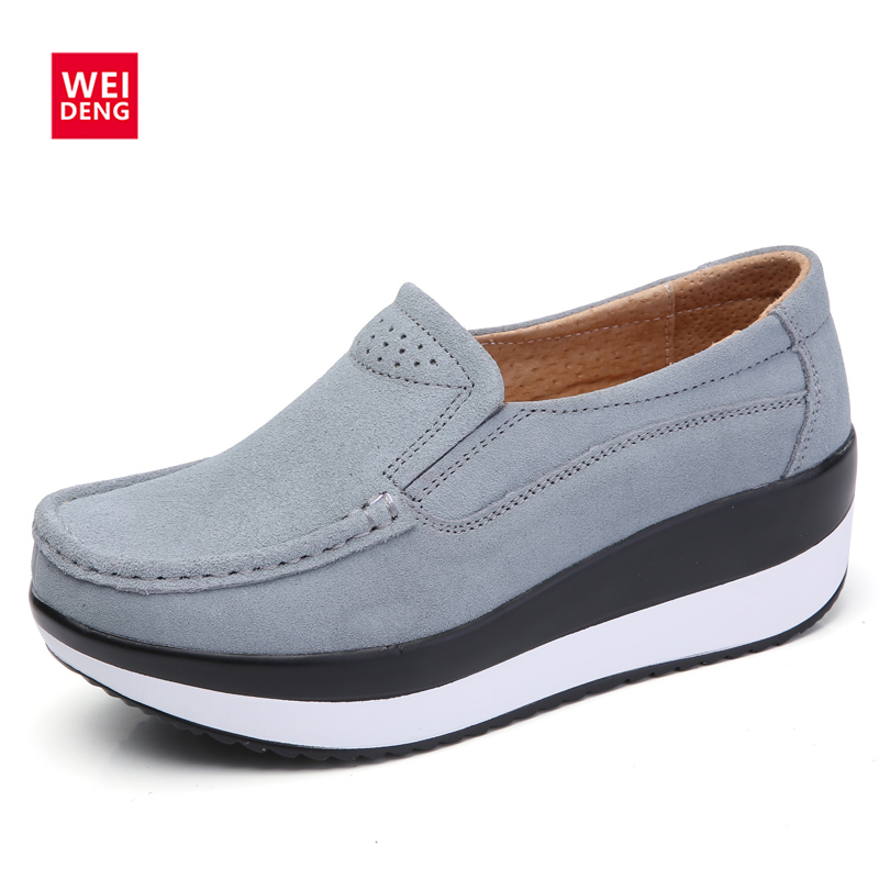 WeiDeng Spring Women Moccasin Platform Flats Loafers Shoes Female Suede Leather Thick Bottom Slip On Flats Creerper Casual Shoes 2017 new spring female flat heels martin shoes bullock shoes female thick bottom loafers large size women shoes obuv ayakkab