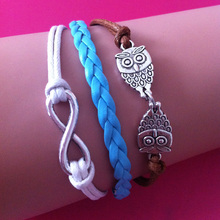 Wholesale Cheap Charm Jewelry Antique Silver Blue Coffee White Leather Rope Chain Owl Infinity wrap link bracelet