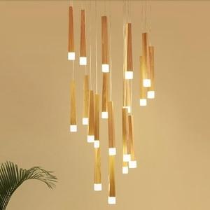 LukLoy Wood Stick Pendant Lamp Modern Natural Wood Light Loft Nordic Staircase Multiple Pendant Lights Suspension Lighting(China)