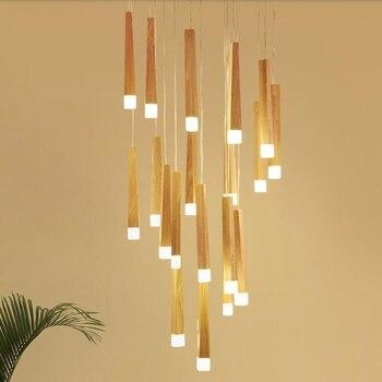 LukLoy Wood Stick Pendant Lamp Modern Natural Wood Light Loft Nordic Staircase Multiple Pendant Lights Suspension Lighting